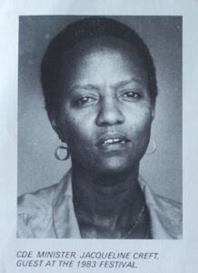 Jacqueline Creft, Minister of Education in the Peoples Revolutionary Government of Grenada